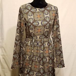 Floral Brown Orange Short Dress with Flare Sleeves